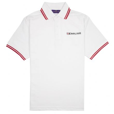 """English"" Embroidered Polo Shirt (White with Red Trim)"